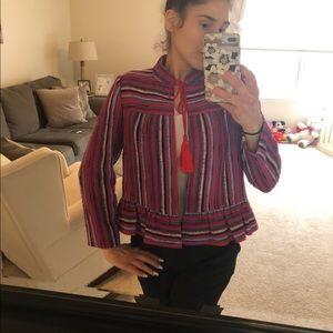 Kate Spade striped tweed peplum jacket